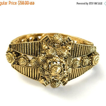 SUPER CLEARANCE Etruscan Revival Hollycraft Bracelet, Hinged Bangle, Antiqued Gold Tone, Intricate Details