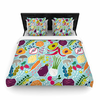 "Agnes Schugardt ""Garden Song"" Blue Food Woven Duvet Cover"