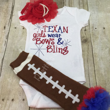 Girls Football outfit -- Texans inspired girls like bling bodysuit set with ruffled football leg warmers and headband