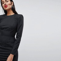 ASOS Shoulder Pad Mini Dress in Stripe with Seams at asos.com