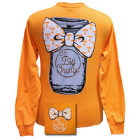 Tennessee Vols Volunteers Mason Jar Big Bow Big Orange Girlie Bright Long Sleeves T Shirt