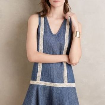 Holding Horses Denim Dropwaist Tunic in Blue Size: