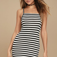 Billabong Dream Song Black and White Striped Bodycon Dress