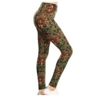 """A Touch of Heaven""  Olive Floral Print Leggings"