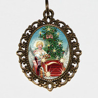 Christmas Tree Car Necklace, Christmas Angel, Holiday Jewelry, Christmas Tree Man, Xmas, Oddities, Christmas Jewelry, Oval Pendant