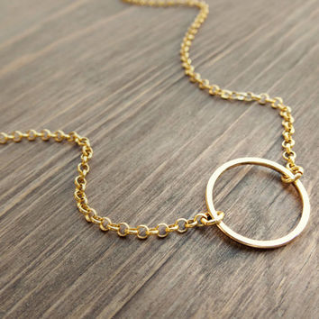 Gold karma necklace - dainty gold necklace - delicate gold necklace - simple gold jewelry - minimalist necklace - gold circle necklace