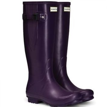 HUNTER TALL DARK IRIS PURPLE ADJUSTABLE WELLINGTON BOOTS WIDE CALVES Welly