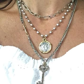 Silver and Gold Beaded Greek Coin Medal Necklace