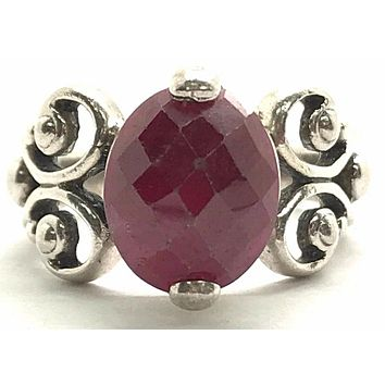 A Vintage Natural 3.5CT Oval Cabochon Red Ruby Ring