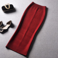 Women's 15 autumn and winter new package hip Slim temperament long section split skirt