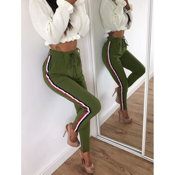 Army Green Drawstring Skinny Stripped Pants