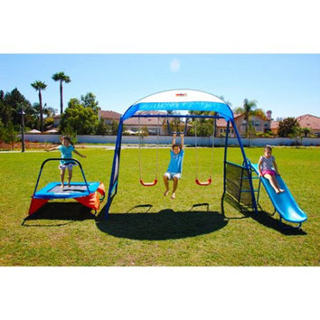 Swing Set with Trampoline, Slide, Monkey Bars,Spinner and Sunshade Canopy