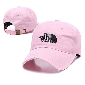 The North Face Popular Women Men Embroidery Sports Sun Hat Baseball Cap Hat Pink
