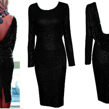 Black Long Sleeve Cowl Back Sequined Bodycon Midi Dress with Back Slit