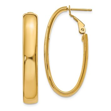 14k Gold Oval Hollow Hoop Earrings