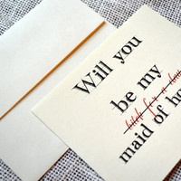 Will you be my Maid of Honor Card (Bitch for a Day) Maid of Honor Gift Funny Card Proposal Card funny bridesmaid cards will you be my matron