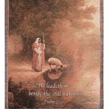 Psalm 23:2 Tapestry Blanket - He Leadeth Me Beside The Still Waters. ""