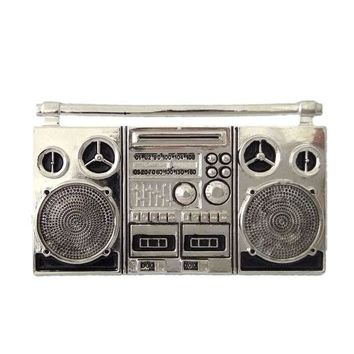 DCCKFS2 Plating Silver color Cassette Tape Recorder Nostalgia metal belt buckle Punk vintage Mens Big buckle for belts accessories