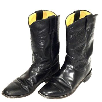 Justin Cowboy Boots Riding Cowgirl Western L3703 Black Leather Womens 7 B - Preowned