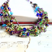 Peacock Necklace Multi Strand Short Necklace Beaded Necklace Colorful Macrame Necklace Boho Chic Necklace