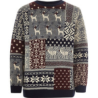 River Island Boys grey reindeer Christmas sweater