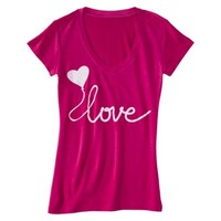 Junior's Scripty Love Graphic Tee - Hot Pink