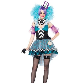 New Alice In Wonderland Movie Series Costumes Blue Fairy Mad Hatter Costume Fancy Dress for women halloween costume