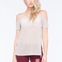 Full Tilt Cold Shoulder Hachi Womens Top Oatmeal  In Sizes