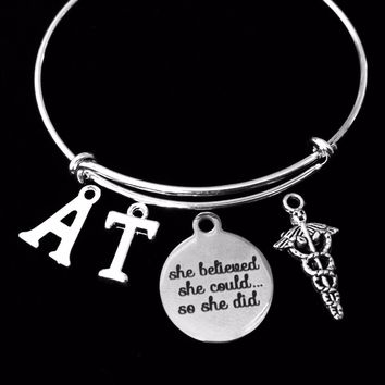 She Believed She Could Athletic Training Expandable Charm Bracelet Silver AT Adjustable Bangle Graduation Gift