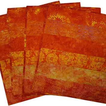 Quilted Placemats in Shades of Orange Batik