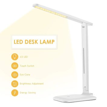 Table Lamp LED Eye-Caring Folding Desk Lamp Dimmable Office Light, Touch Control, Warm/Cool/White for Reading, Studying, Working
