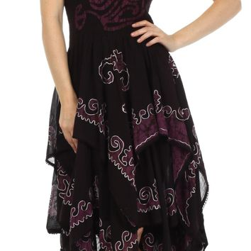 Sakkas Batik Smocked Bodice Handkerchief Hem Dress