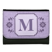 Floral Border Lavender Monogram Wallet