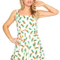 Pineapple Summer Print A-Line Retro Dress