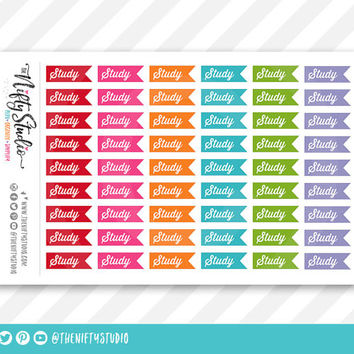 Study College Planner Stickers | The Nifty Studio | Planner Stickers Erin Condren compatible, Planner Stickers School