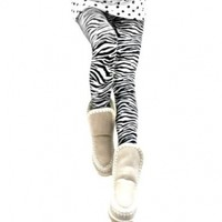 Amour-Women Black & White Zebra (or White Tiger) Print Animal Pattern Ankle Length Footless Legging Tregging Tight Pant (Small to Medium)