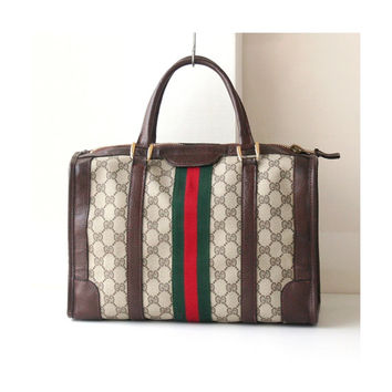 Gucci monogram vintage boston bag authentic red green brown tote handbag purse