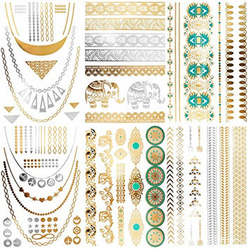 Cokohappy Metallic Temporary Tattoos,(One set) 6 Different Sheets of Bling Gold Silver,Wing Feather Bracelets Necklace Armbands Ring Fake Jewelry Tattoos,Sexy Body Art Long Lasting for Men Women