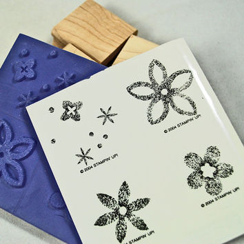 """Stampin Up Rubber Stamps,  MINT and RETIRED - Unmounted -  """"Burst Into Bloom"""" -  2004 Scrapbooking. Cardmaking, Crafting, Tags"""