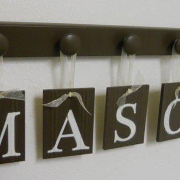 Baby Nursery Wall Letter Sign Set Includes 5 Wooden Hooks Chocolate Brown. Custom Names for your Boys Bedroom Wall MASON