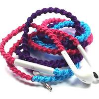 Caribbean Sea MyBuds Wrapped Headphones Tangle Free Earbuds Your Choice of Headphones