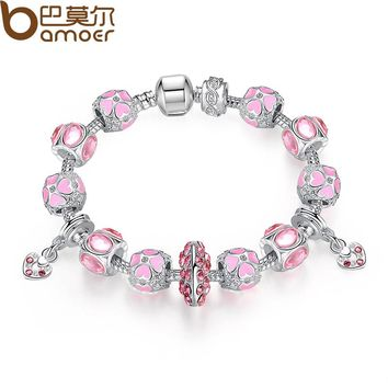 Lovely Pink Glass Beads Girl Strand Bracelet with Heart Pendant Female Bracelet Accessories PA1475