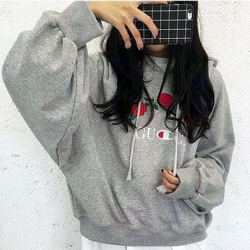 Gray GUCCI Embroidered Rose Flower Hoodie Sweatershirt