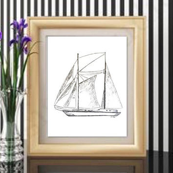 Sailboat drawing, ink Nautical sketch, Boat print, original art sketch, Boat illustration, black and White Print, Pen and Ink Print