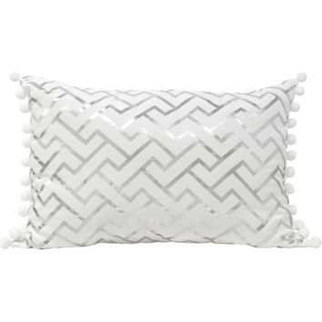 Better Homes and Gardens Greek Key Foil Pillow with Pom Poms - Walmart.com