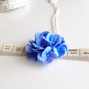 Hydrangea pendant, hydrangea necklace, polymer clay necklace, flower touch, flower pendant, polymer clay flowers, handmade jewelry, blue
