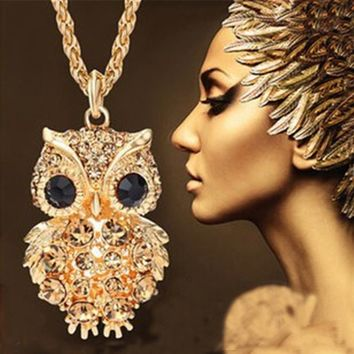 Crystal Owl Pendant Necklaces by Lemon Value