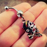 Day of the Dead Skull Belly Button Ring Navel Jewelry Skull with Flowers