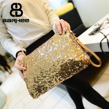 BARHEE Sparkle Women Clutch Handbag Party Club Fashion Ladies Shoulder Bag Blingbling Gold Silver Small Sling Bag Chains Crossbo