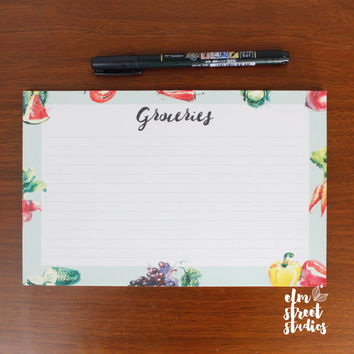 Groceries List Notepad   Notepad   Grocery List   Shopping List